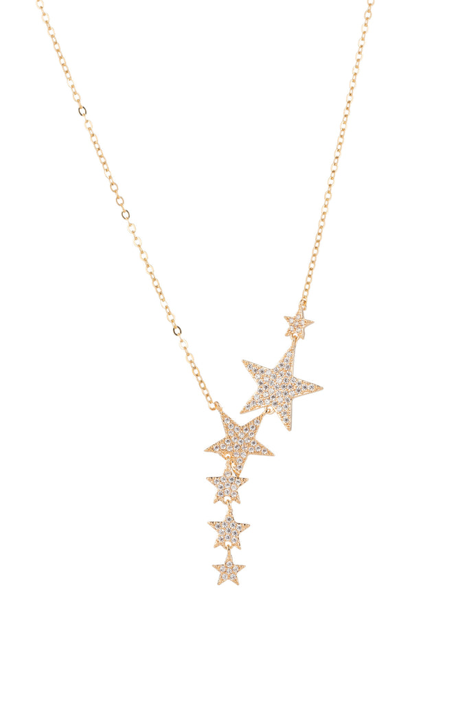 Sterling silver 14k gold plated shooting star pendant with CZ crystals on a gold chain.