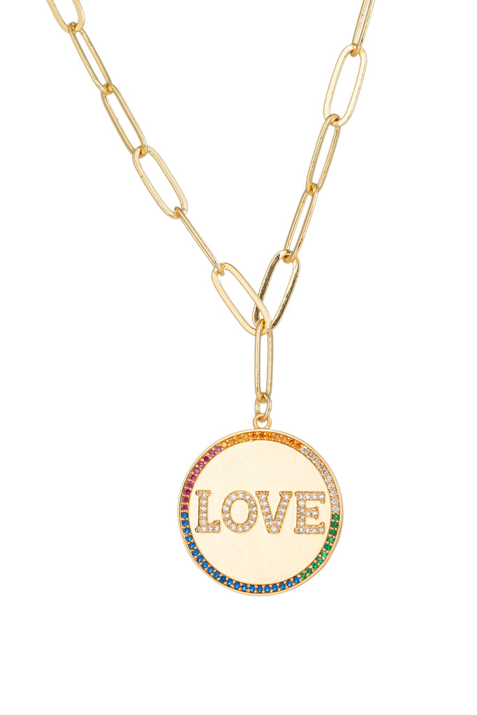 Rainbow LOVE lettering circle charm necklace with CZ crystals.