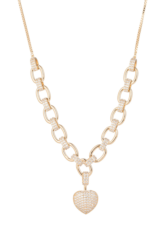 Gold heart charm necklace studded with CZ crystals.