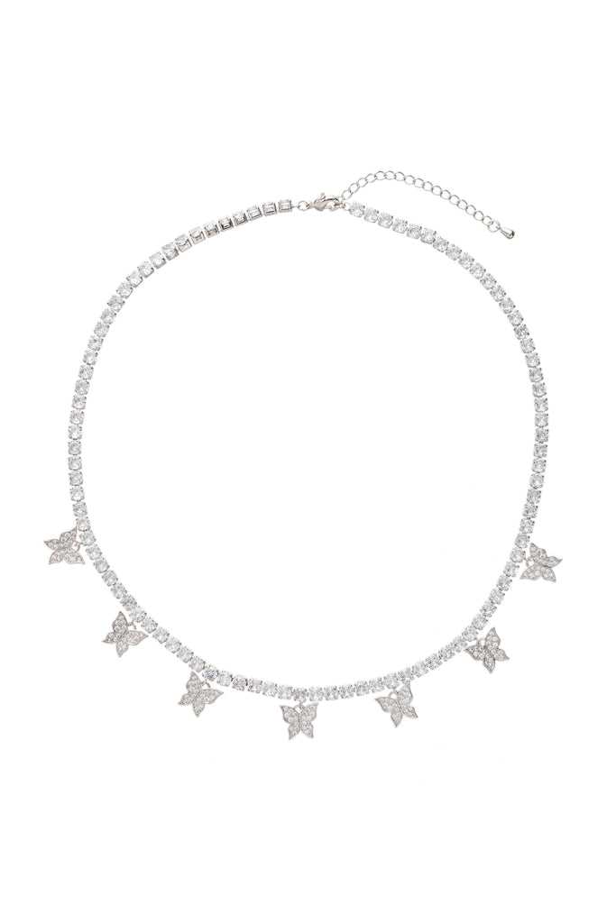 Silver butterfly statement necklace studded with CZ crystals.