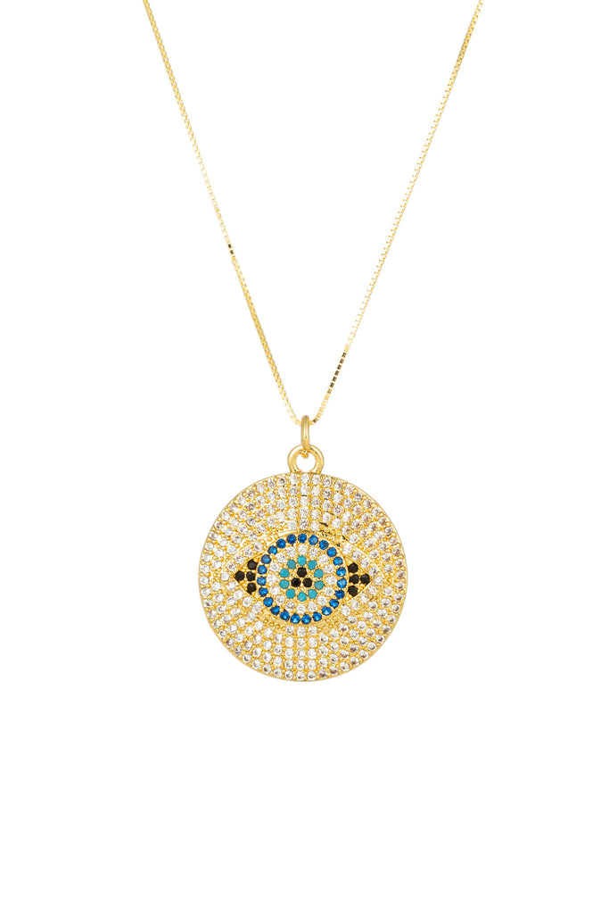 Sterling silver 14k gold plated Evil Eye necklace studded with CZ crystals.