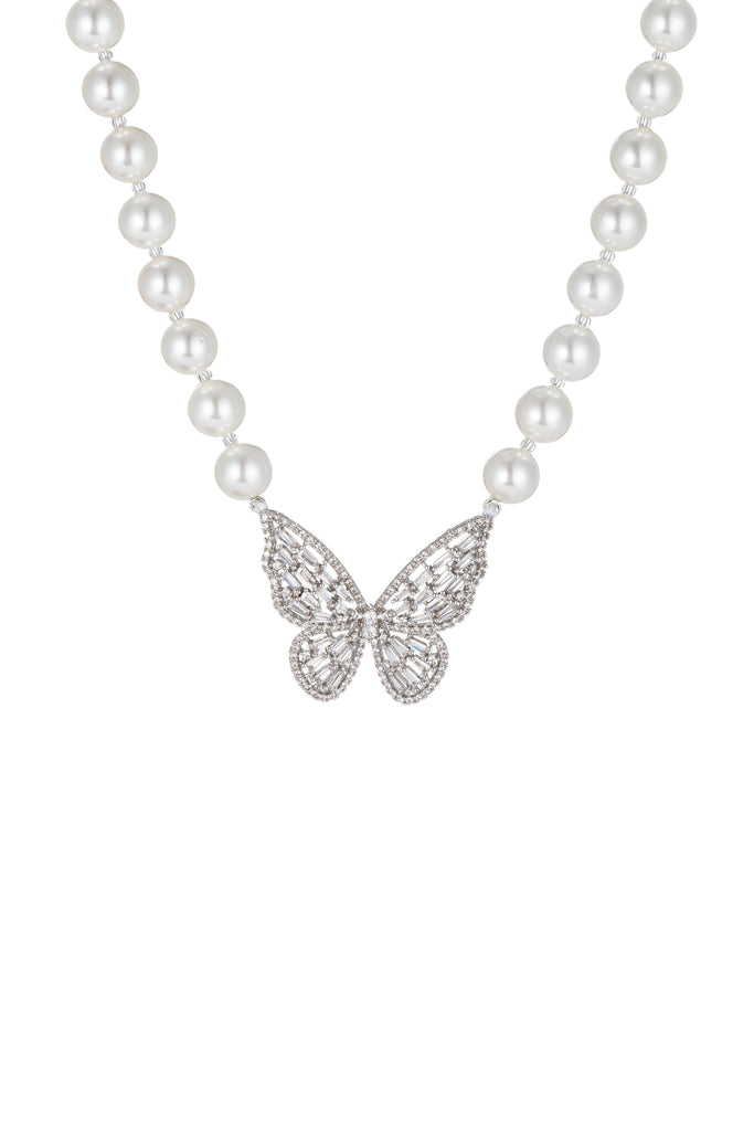Butterfly shell pearl necklace with CZ crystals.