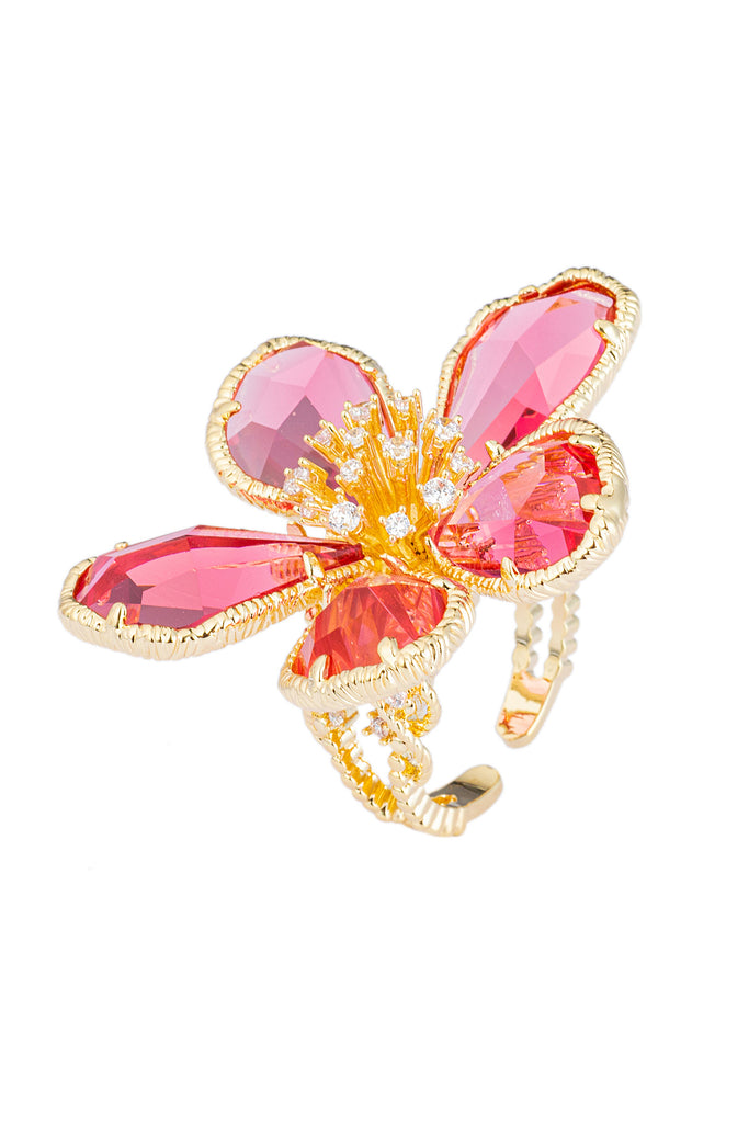 Adjustable pink and gold flower blossom ring studded with CZ crystals.