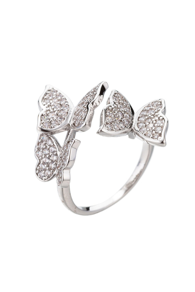 18k gold plated adjustable butterfly ring studded with CZ crystals.