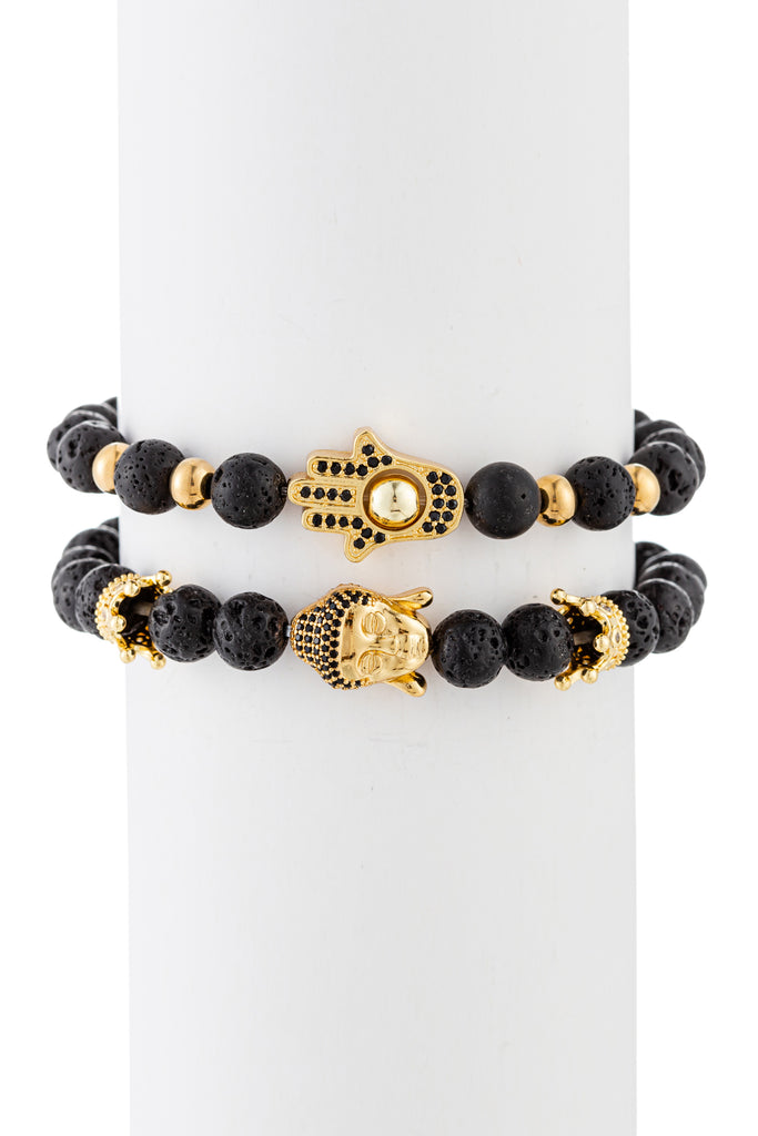 Hamsa + Buddha lava beaded stretch bracelet.