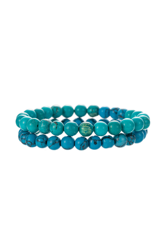 Turquoise stretch beaded bracelet set.