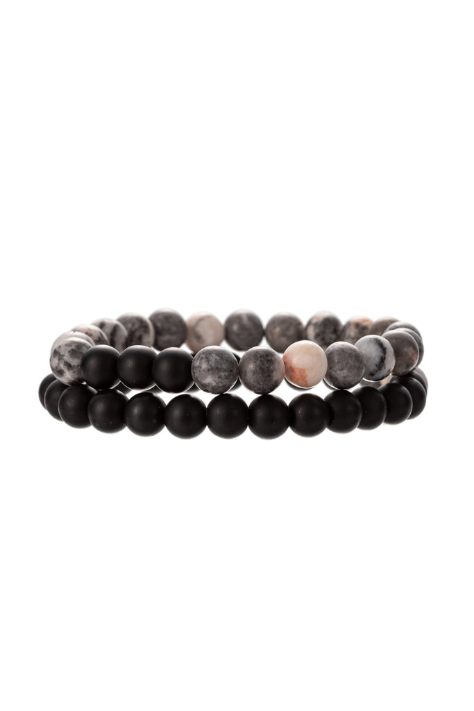 Black agate stretch beaded bracelet set.