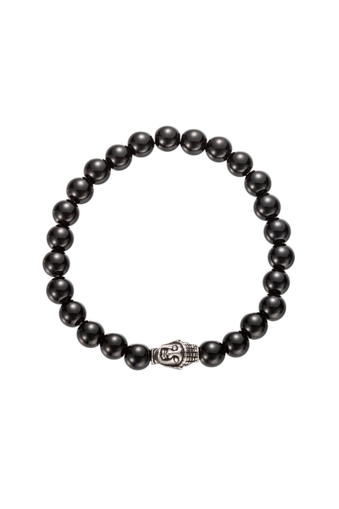 Black agate Buddha stretch beaded bracelet.