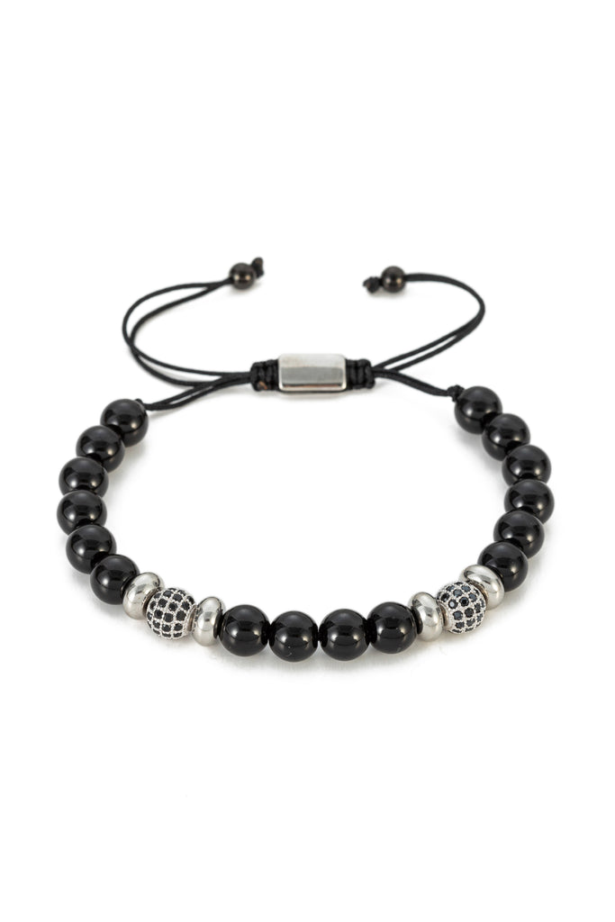 Black agate stretch beaded bracelet.