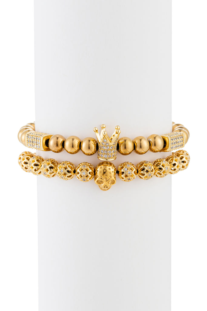 Gold titanium skull and crown beaded bracelet with brass CZ.