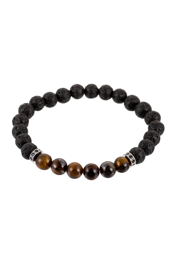 Beaded bracelet with rough black lava rock beads and smooth brown tiger eye beads.