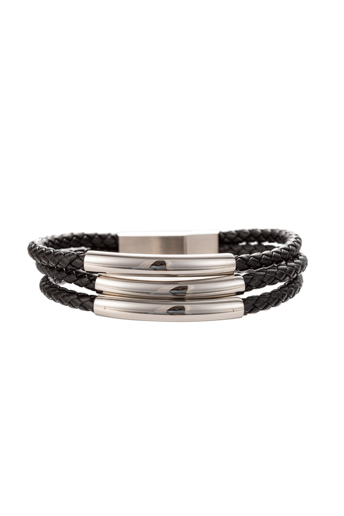 Silver titanium authentic leather bracelet.