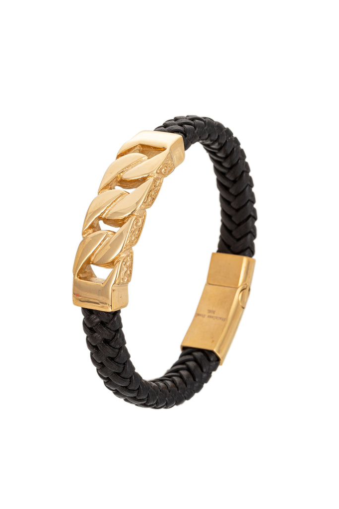 Gold Cuban link titanium bracelet with authentic leather.