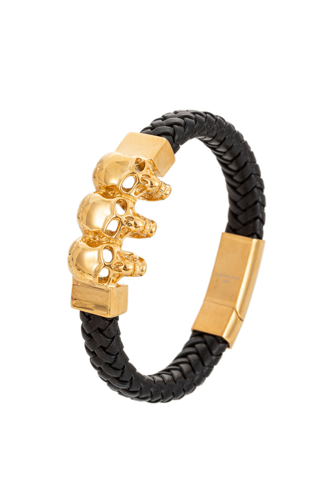 Gold skull titanium authentic leather bracelet.