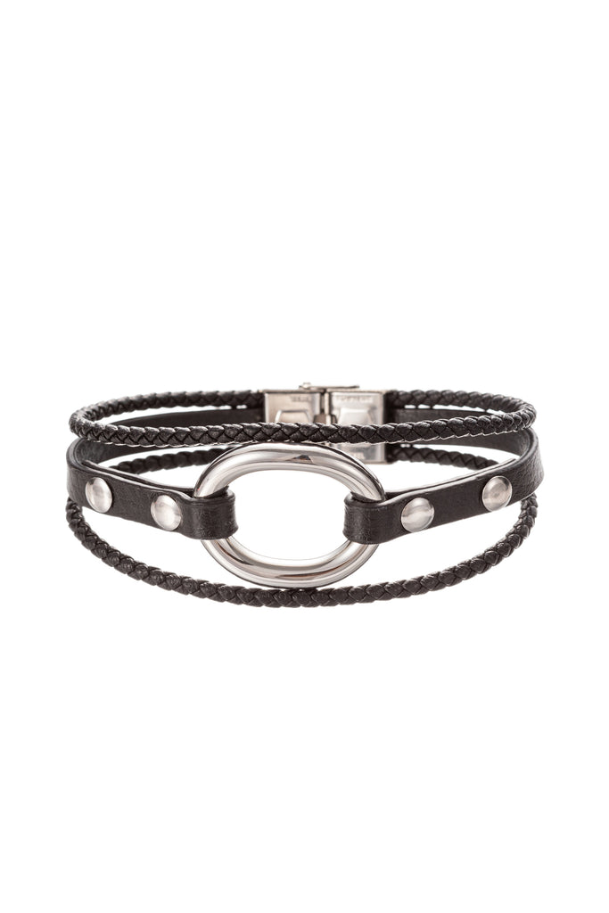 Silver titanium faux leather loop bracelet.
