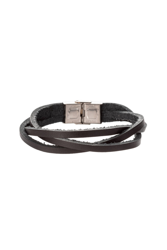 Silver titanium faux leather black strand bracelet.