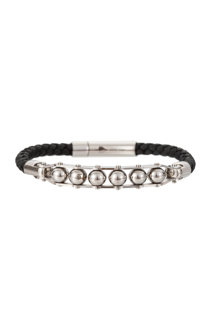 Silver titanium and authentic leather beaded bracelet.