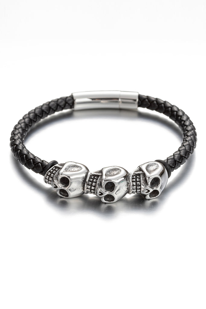 Skull head leather bracelet with titanium silver.