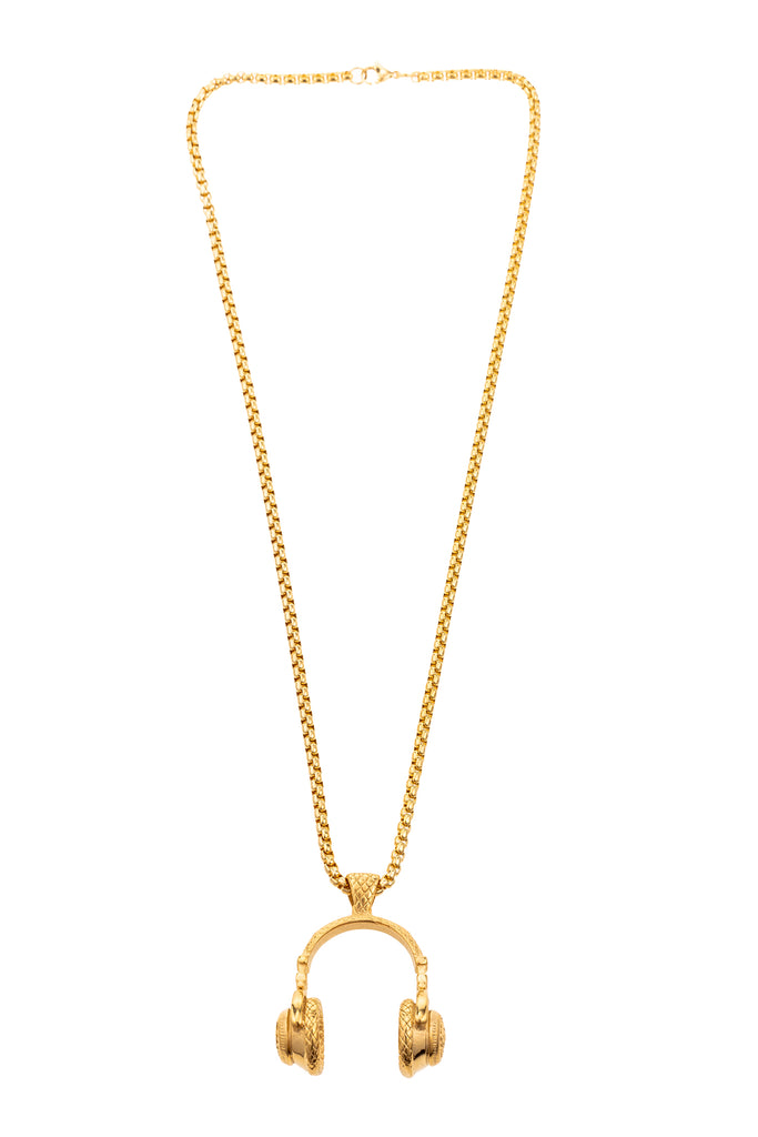 14 inch gold chain necklace with 1 inch pendant. Pendant is gold pair of old school headphones.