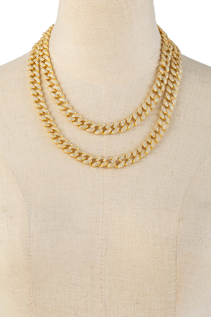 Set of 2 gold tone brass Cuban link necklace with cz crystals.