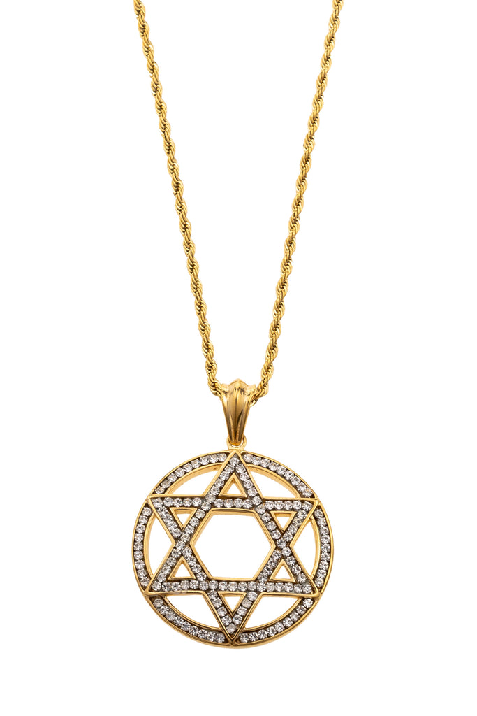 Gold chain with gold star of David circle pendant. Star of David and circle surrounding is encrusted with CZ crystal design.