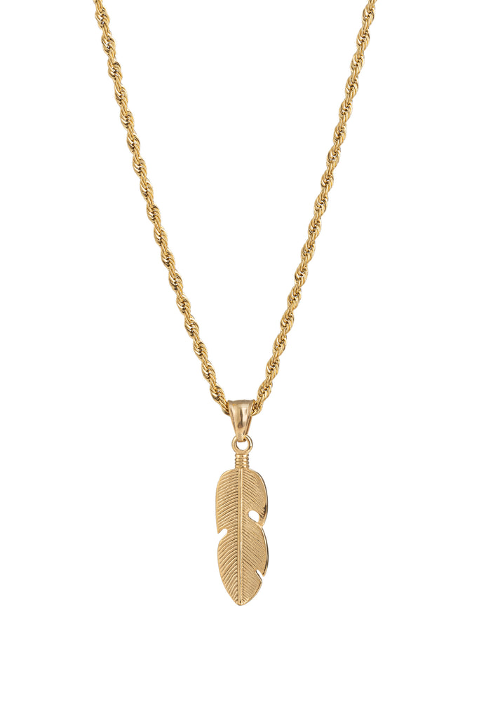 Gold titanium feather pendant necklace.