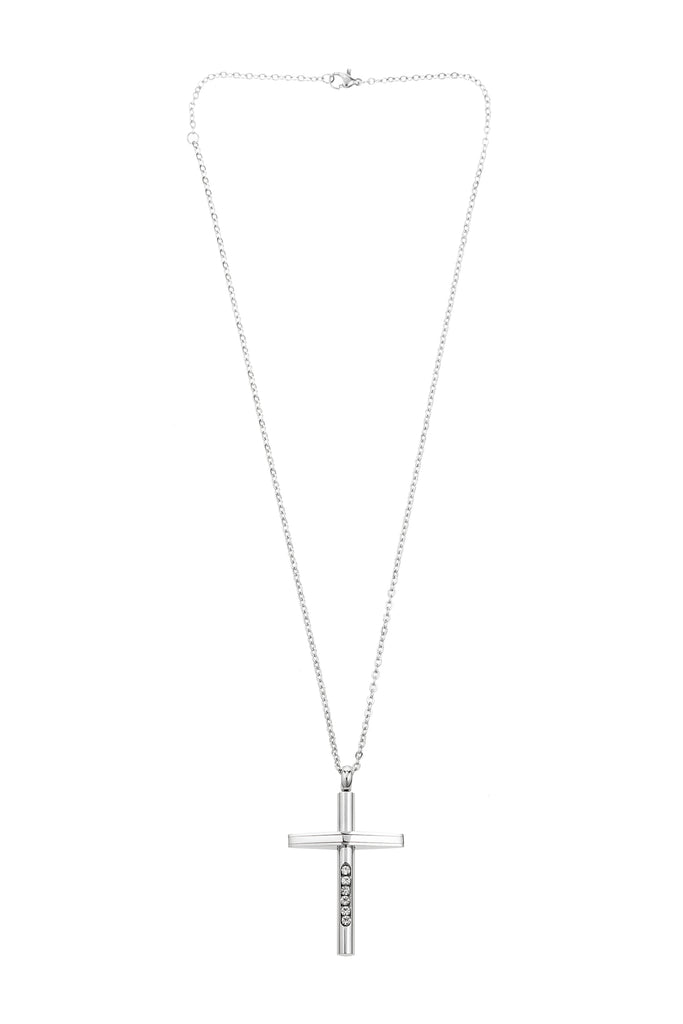 Approximately 14 inch silver chain with 2 inch cross pendant and lobster clasp.. Cross pendant features five CZ crystals.