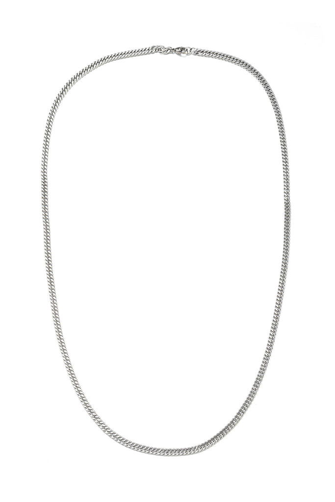 5 MM silver titanium cuban link strand necklace.