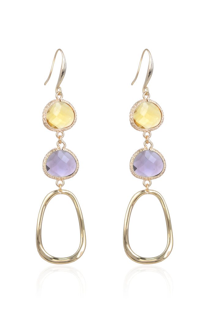 Abilene Earrings - Yellow/Purple
