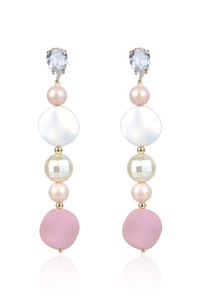 Alcott Earrings - Pink/White