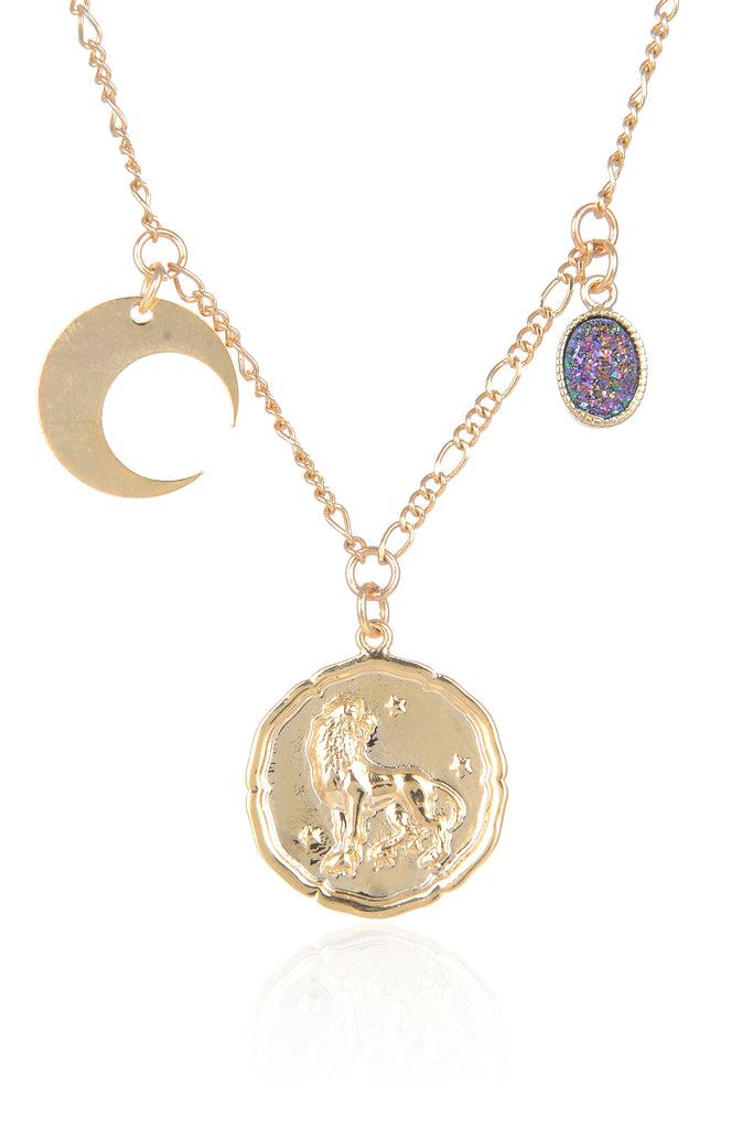 Zodiac Druzy Moon Necklace: Leo
