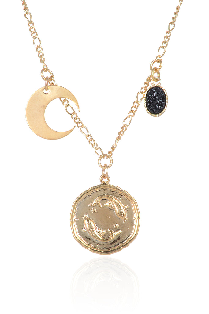 Zodiac Druzy Moon Necklace: Pisces
