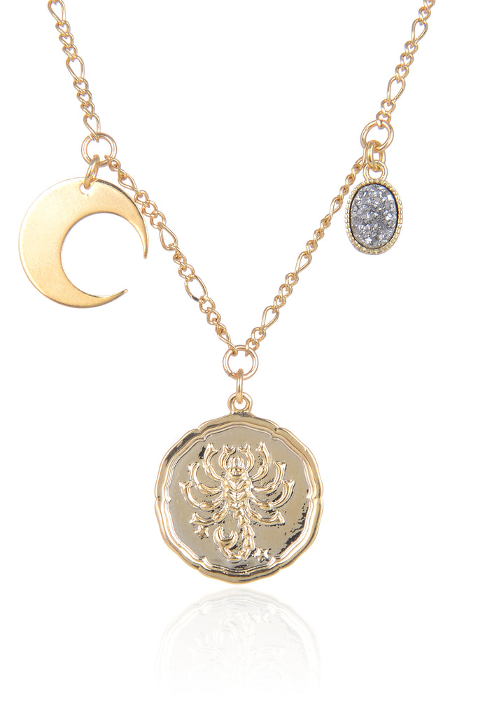 Zodiac Druzy Moon Necklace: Scorpio