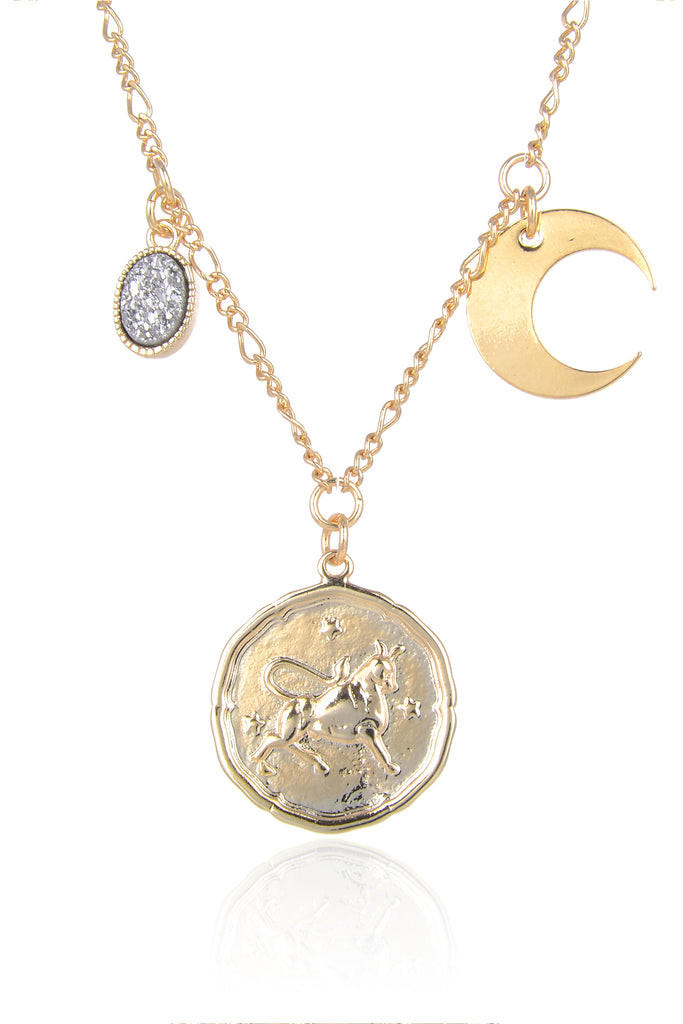 Zodiac Druzy Moon Necklace: Taurus