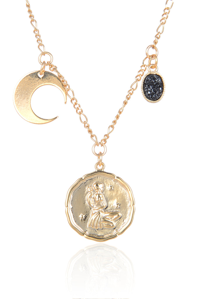 Zodiac Druzy Moon Necklace: Virgo