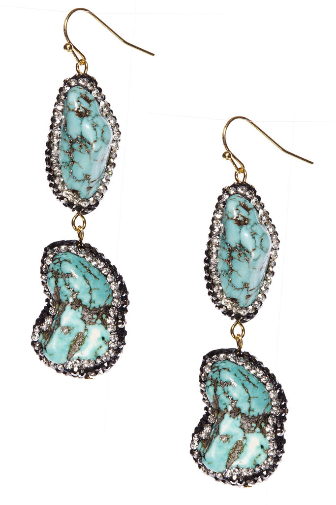 Abasi Crushed Turquoise Statement Drop Earrings
