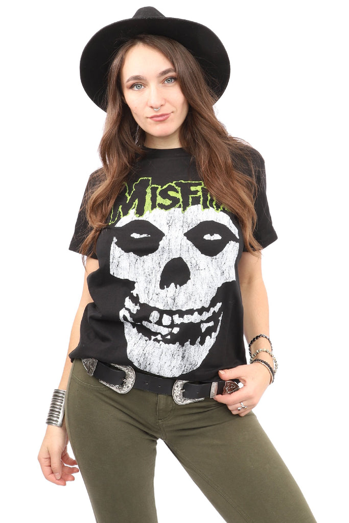Misfits  T-Shirt - Green Logo - Black