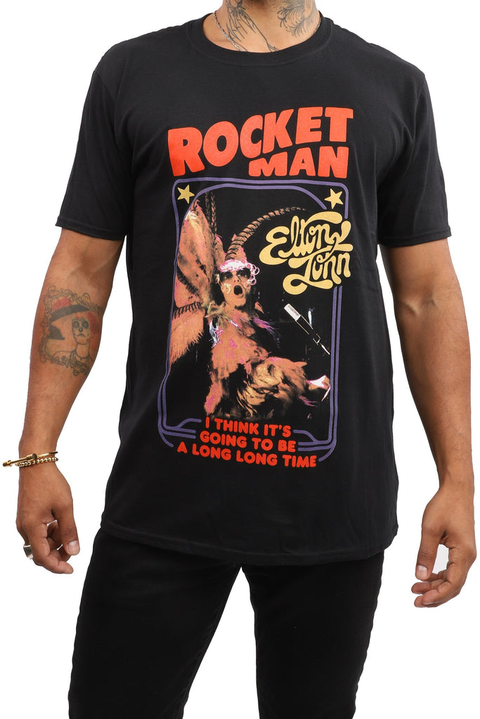 Elton John T-Shirt - Rocket Man - Black