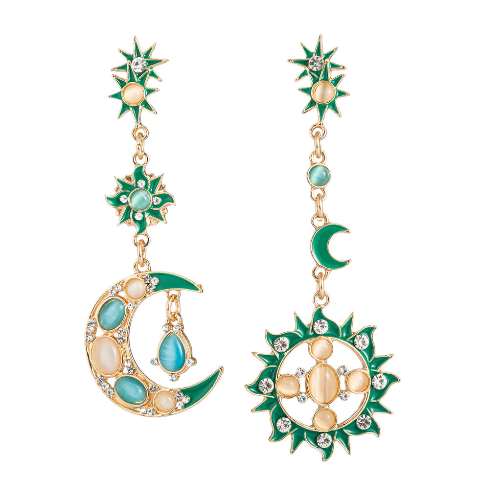 Sun & Moon Earrings - Green