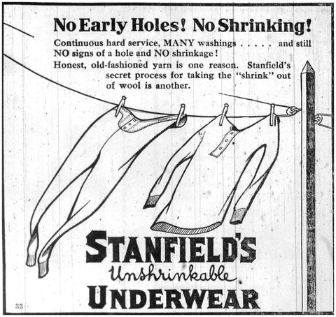 Historical newspaper ad for unshrinkable underwear