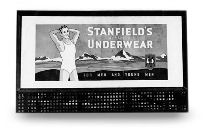 Black and white photo of a billboard