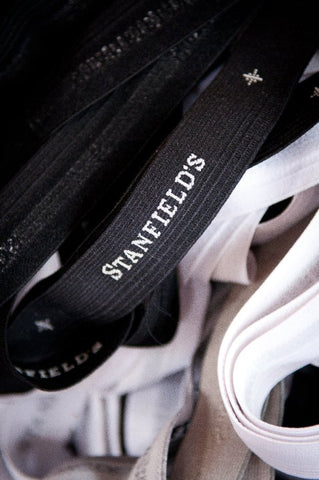 Photo of an elastic waistband with the Stanfield's name
