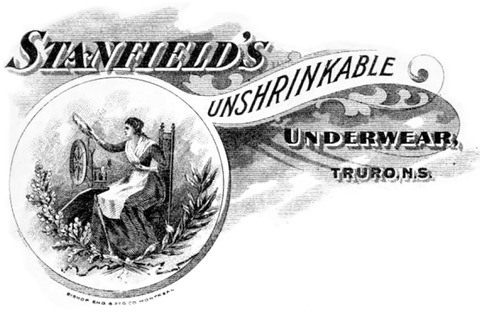 Illustrated historic advertisement for unshrinkable underwear