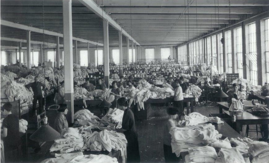 Historic photograph of the inside of the Stanfield's factory