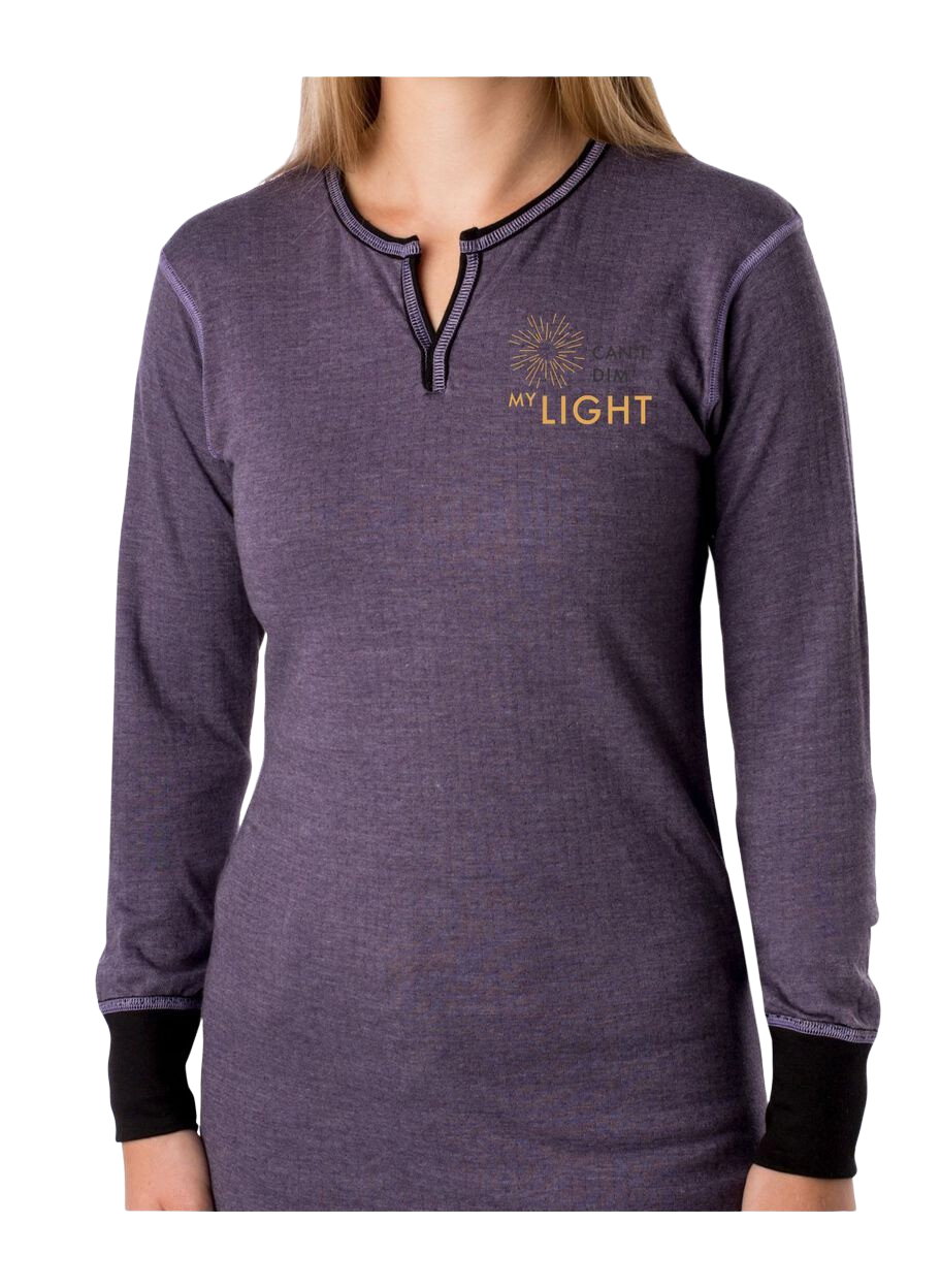 "Women's 2 layer shirt with "" Can't Dim My Light"" logo"