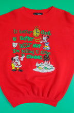Load image into Gallery viewer, VTG Disney Red Punny Christmas Sweatshirt