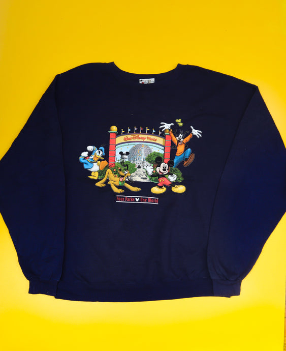 Vintage Navy Disney World Parks Sweatshirt