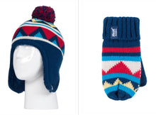 Load image into Gallery viewer, Boys Navy Chevron Cosy Ears Hat and Mittens Age 3-6 Years