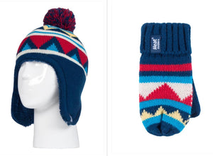 Boys Navy Chevron Cosy Ears Hat and Mittens Age 3-6 Years
