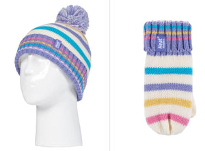 Girls Cream Stripe Jacquard Hat and Mittens Age 3-6 Years